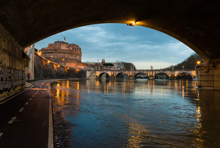 ROME, ITALY - JANUARY  FEBRUARY 2016 - Shot During a series of visits at the capital of Italy. Here: Tiber