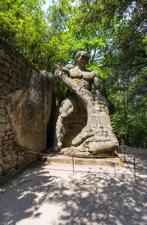 Bomarzo, Italy - 1 August 2016 - A visit to the famous Monster Park (Monster Park in italian), an esoteric medieval garden in the forest region of Tuscia, central italy