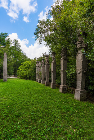 tuscia: Bomarzo, Italy - 1 August 2016 - A visit to the famous Monster Park (Monster Park in italian), an esoteric medieval garden in the forest region of Tuscia, central italy