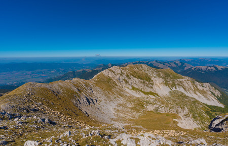 rieti: Monte Terminillo, a hike on trails up to 2216 meters of the summit. Terminillo Mount is named the Mountain of Rome. It is located in the Apennine range, some 20 km from Rieti and 100 km from Rome Stock Photo