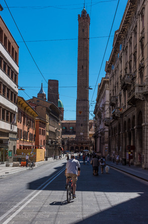 north window arch: Bologna, Italy - 14 August 2016 - A touristic summer sunday in the city of porches and the capital of Emilia-Romagna region, northern Italy Editorial