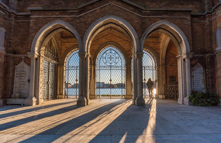 forfeiture: Venice, Italy - 21 October 2016 - A visit in the monumental cemetery located in a island of the Venice lagoon Editorial