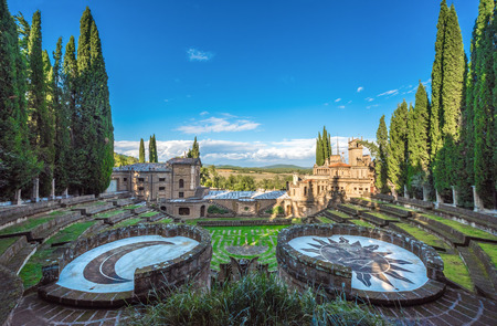 Montegabbione, Italy - 8 October 2016 - Scarzuola is an ancient Catholic sanctuary in the country of Umbria region, inside Which is the mysterious and esoteric Ideal City of the architect Tomaso Buzzi Editorial