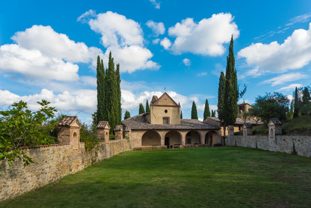 esoterismo: Montegabbione, Italy - 8 October 2016 - Scarzuola is an ancient Catholic sanctuary in the country of Umbria region, inside Which is the mysterious and esoteric Ideal City of the architect Tomaso Buzzi Editorial