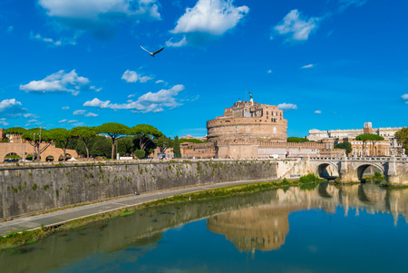 castel: Rome (Italy) - The Tiber river and the monumental Tiber Editorial