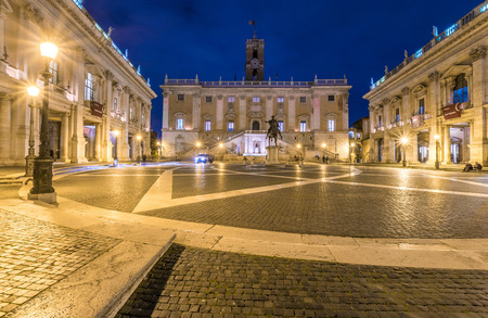 town hall square: Rome, Italy - 18 November 2016 - The Town Hall square named Piazza del Campidoglio, in the blue hour Editorial