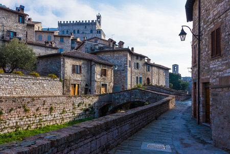 Gubbio, Italy - 31 December 2015 - One of the most beautiful medieval towns in Europe, in the heart of the Umbria Region, central Italy. Editorial