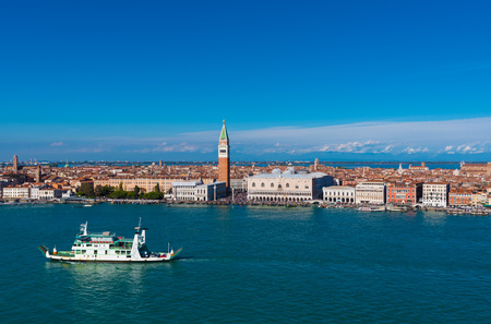 Venice, Italy - 22 OCTOBER 2016 - The city on the sea. Here the cityscape from St. George bell tower .. Editorial