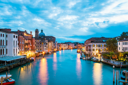 Venice, Italy - 21 OCTOBER 2016 - The city on the sea. Here the Grand Canal from Rialto bridge.
