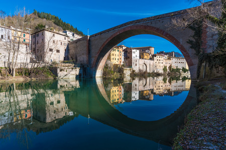 Fossombrone (Italy), a town with river bridge in the Marche region