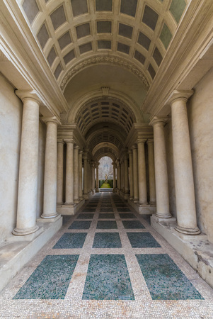 Rome, Italy - 4 December 2016 - A quaint and charming attraction of the capital of Italy: the false perspective of Borromini in Palazzo Spada Editorial