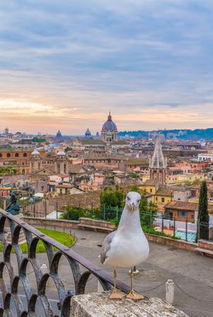 Rome (Italy) - The cityscape from Pincio Terrace, Villa Borghese park Stock Photo