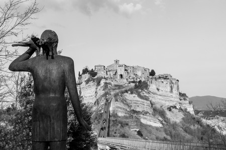 lazio: Civita di Bagnoregio, Italy - 25 February 2017 - The famous ancient village on the hill between the badlands, in the Lazio region, central Italy, known as The town is dying That