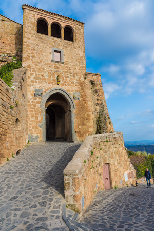Civita di Bagnoregio, Italy - 25 February 2017 - The famous ancient village on the hill between the badlands, in the Lazio region, central Italy, known as The town is dying That