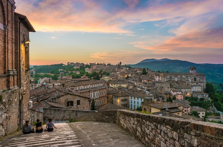 Perugia, Italy - 25 June 2016 - Characteristic views at sunset of the beautiful medieval city, capital of Umbria region, central Italy.