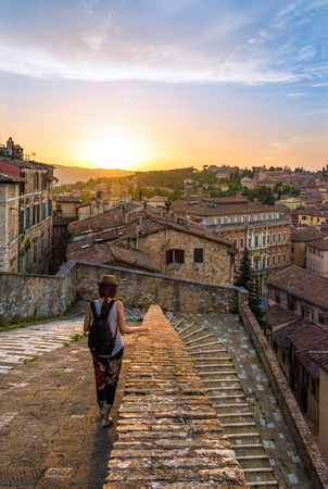 priori: Perugia, Italy - 25 June 2016 - Characteristic views at sunset of the beautiful medieval city, capital of Umbria region, central Italy.