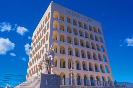 Rome, Italy - 26 March 2017 - The Palace of Italian Civilization in the EUR district, Also know as Square Colosseum, is the icon of New Classical building and Fascist architecture, now museum.