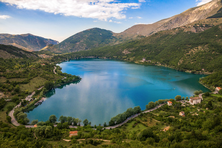 Lake Scanno (LAquila, Italy) - When nature is romantic: the heart-shaped lake on the Apennines mountains, in the Abruzzo region, central Italy