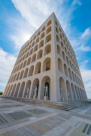 renovated: Rome, Italy - 15 April 2017 - The Palace of Italian Civilization in the EUR district, Also know as Square Colosseum, is the icon of New Classical building and Fascist architecture, now museum. Editorial