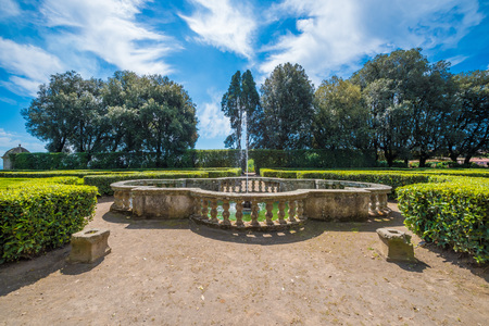 Vignanello, Italy - 30 April 2017 - The Ruspoli Castle in the historic center of the little medieval town in the Tuscia region. This noble residence has one of the most beautiful gardens in Italy. Editorial