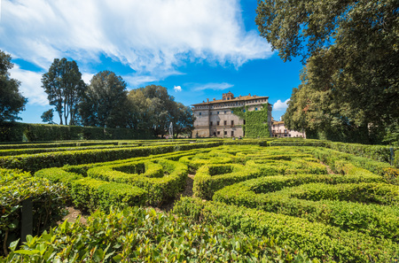 Vignanello, Italy - 30 April 2017 - The Ruspoli Castle in the historic center of the little medieval town in the Tuscia region. This noble residence has one of the most beautiful gardens in Italy. Editoriali