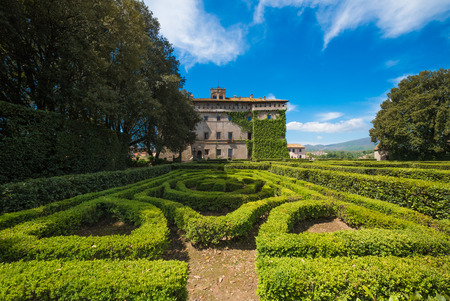 descendants: Vignanello, Italy - 30 April 2017 - The Ruspoli Castle in the historic center of the little medieval town in the Tuscia region. This noble residence has one of the most beautiful gardens in Italy. Editorial