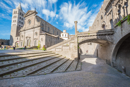 Viterbo, Italy - A Sunday morning in the medieval city of the Lazio region, district named San Pellegrino