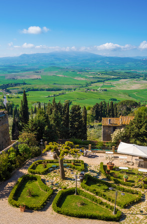Val dOrcia, Italy - 24 April 2017 - The beautiful and very famous landscape of Tuscany region, during the spring, with its most characteristic landmarks protected by copyright. Editorial