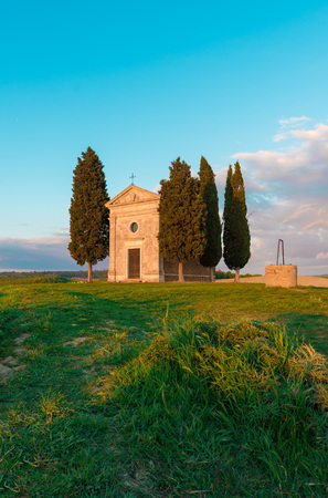expanse: Val dOrcia, Italy - 23 April 2017 - The beautiful and very famous landscape of the Tuscany region, during the spring, with its most characteristic landmarks protected by copyright.