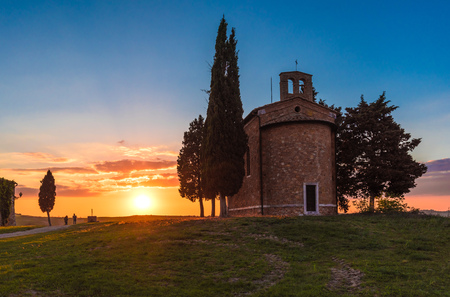 Val dOrcia, Italy - 23 April 2017 - The beautiful and very famous landscape of the Tuscany region, during the spring, with its most characteristic landmarks protected by copyright.