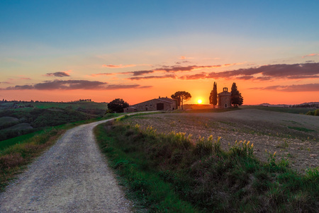 pienza: Val dOrcia, Italy - 23 April 2017 - The beautiful and very famous landscape of the Tuscany region, during the spring, with its most characteristic landmarks protected by copyright.