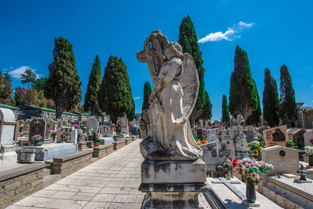 Pitigliano, Italy - 23 April 2017 - The cemetery of gorgeous medieval town in tuff, Tuscany region, known as The Little Jerusalem