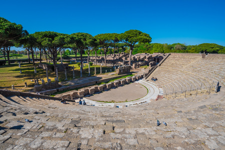 Rome, Italy - 25 April 2017 - The monumental archeological park of Ostia Antica, the ruins of Roman Empire protected by copyright.