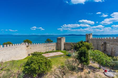Castiglione del Lago, Italy - 24 April 2017 - A medieval town with a big castle in the historic center, next to Trasimeno lake, central Italy Editorial