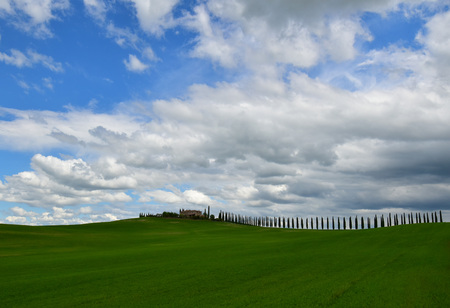 pienza: Val dOrcia, Italy - 1 May 2016 - The beautiful and very famous landscape of the Tuscany region, during the spring. All the places and landscapes of the Val dOrcia are protected by COPYRIGHT, following the recognition of the request of the town of San Qu Editorial