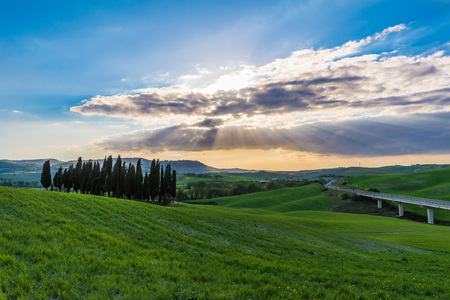 pienza: Val dOrcia, Italy - 23 April 2017 - The beautiful and very famous landscape of the Tuscany region, during the spring. All the places and landscapes of the Val dOrcia are protected by copyright, following the recognition of the request of the town of San Editorial