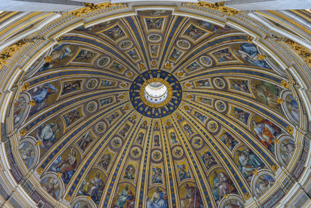 Rome, Vatican - 22 April 2015 - A visit to Saint Peters Basilica and Dome in the Vatican City State, the center of Catholic Religion with the Pope.