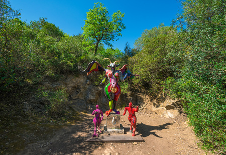 Capalbio, Italy - 22 April 2017 - The Tarot Garden is an awesome sculpture garden based on the esoteric tarot created by Niki de Saint Phalle in the Tuscany region.