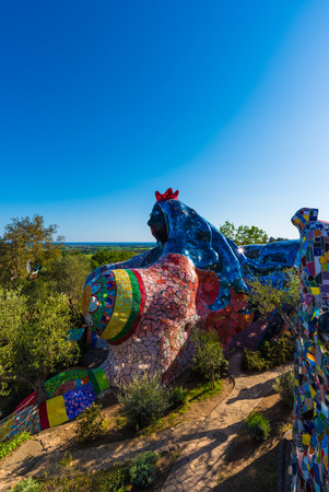 florentine: Capalbio, Italy - 22 April 2017 - The Tarot Garden is an awesome sculpture garden based on the esoteric tarot created by Niki de Saint Phalle, Tuscany region. Editorial