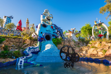 natures: Capalbio, Italy - 22 April 2017 - The Tarot Garden is an awesome sculpture garden based on the esoteric tarot created by Niki de Saint Phalle, Tuscany region. Editorial