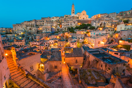 Matera (Basilicata) - The historic center of the beautiful stone town of southern Italy, a tourist attraction for the famous Sassi, designated European Capital of Culture for 2019. Фото со стока