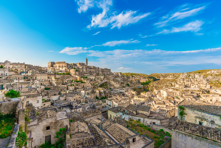 The historic center of the beautiful stone city of southern Italy, a tourist attraction for the famous Sassi, designated European Capital of Culture. Stock Photo