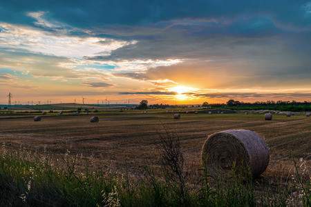 Apulia (Italy) - Wind farm with rock ruins, wind turbines and bales of hay at sunset