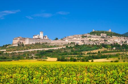 Assisi, Umbrië (Italië) - De geweldige middeleeuwse stenen stad in Umbrië, met het kasteel en het beroemde heilige Franciscan heiligdom.