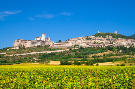Assisi, Umbria (Italy) - The awesome medieval stone town in Umbria region, with the castle and the famous Saint Francis sanctuary. Stock fotó - 83162821