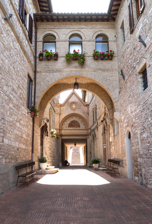 of assisi: Assisi, Italy - 9 July 2017 - The awesome medieval stone town in Umbria, with its castle and the famous Saint Francis sanctuary. Editorial