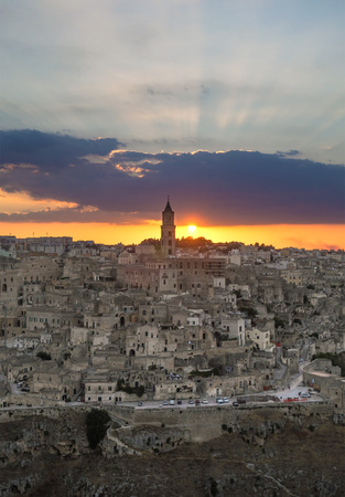 renovated: Matera (Basilicata) - The historic center of the beautiful stone town of southern Italy at sunset, a tourist attraction for the famous Sassi old town.