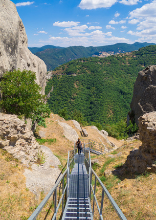 lucania: Castelmezzano (Italy) - A small altitude village, dug into the rock in the natural park of the Dolomiti Lucane, Basilicata region, also famous for the spectacular Angel flight Stock Photo