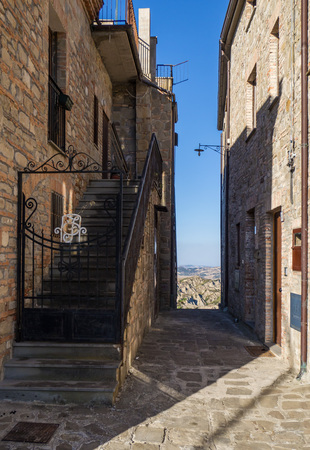Aliano, Italy - 13 August 2017 - A very small town nestled among the badlands hills of the Basilicata region, famous for being the exile and tomb of the writer, painter and politician Carlo Levi Editöryel