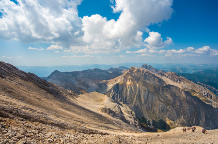 Gran Sasso, Italy - 26 August 2017 - The summit of central Italy in the Alps, Abruzzo region. Photo are editorial because the landscapes of this Natural Park are still protected by an old copyright